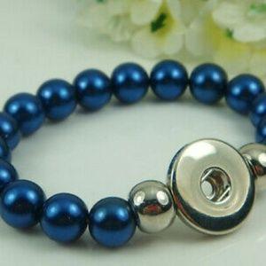 Blue Beaded Snap Button Interchangeable Bracelet